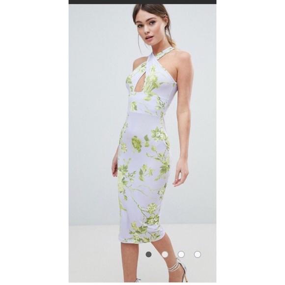 dc8b08a527d3 ASOS Dresses | Chic Floral Criss Cross Front Midi Dress Sz 6 | Poshmark